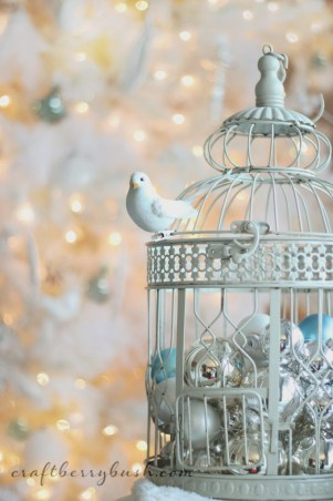 Christmas Ornament Decorations Holidays Ornaments Decor Birdcage White Bird Blue Silver White Christmas Birdhouse Dove