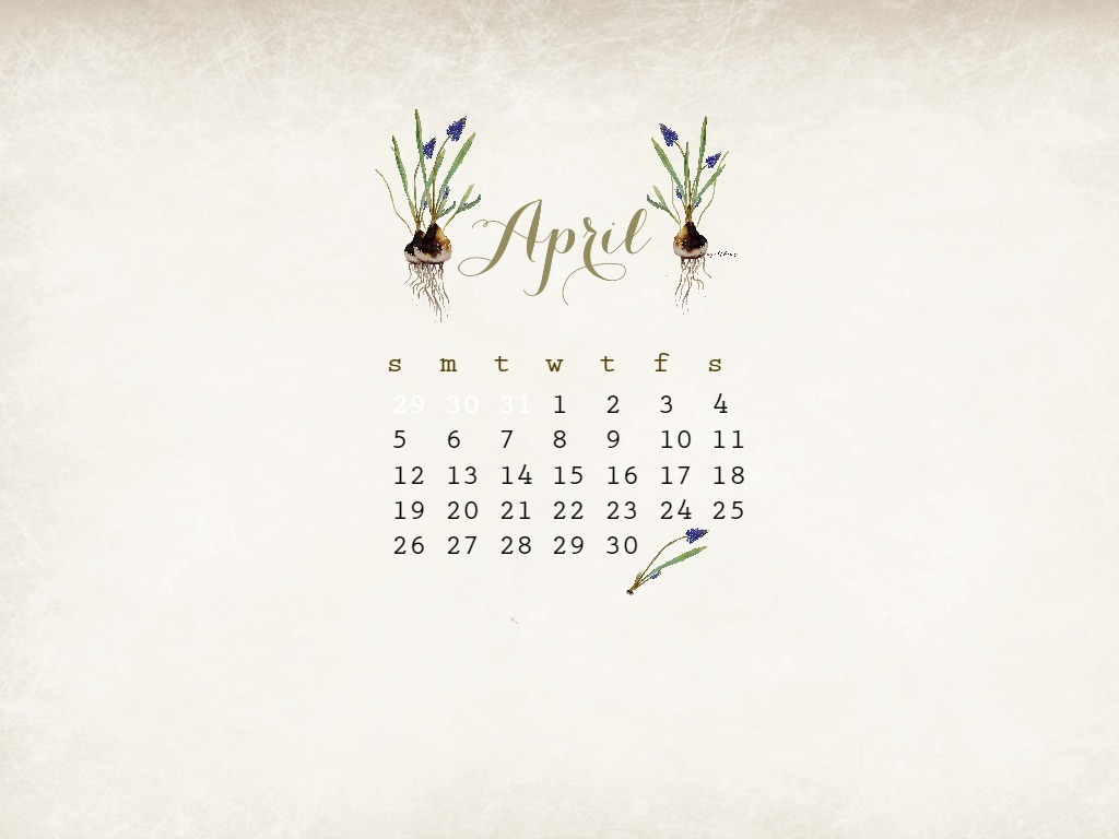 April Free Watercolor Desktop Calendar