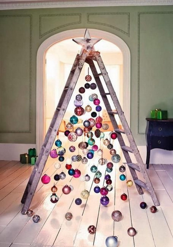 recycling christmas balls to make a unique and creative inside christmas tree with old ladders for holiday decorations