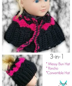 My Dolly Surf Song 3-in-1 messy bun hat, poncho, converible free crochet pattern by Mistie Bush on CraftCoalition.com