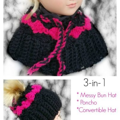 My Dolly Surf Song Convertible 3-in-1 – Poncho, Messy Bun hat, Beanie