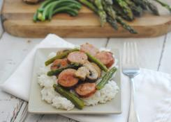 Seasonal asparagus, smoked sausage and mushrooms are an easy go to meal for busy week nights.
