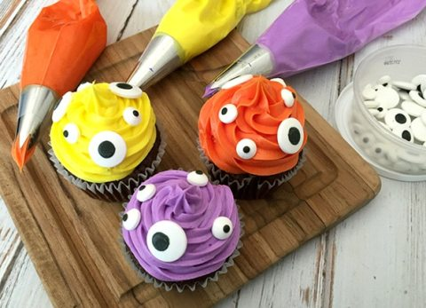 These cute Halloween monster cupcakes are easy and scary good!