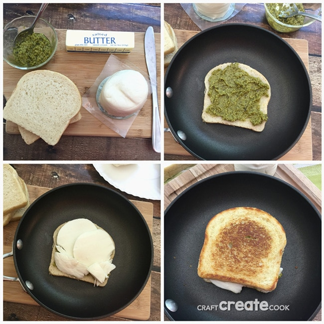 Mozzarella Pesto Grilled Cheese Sandwich Recipe