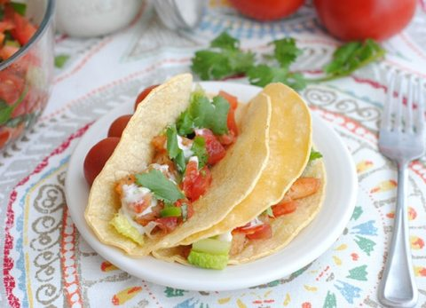 These shrimp tacos are perfect for a healthy dinner or great for using leftover shrimp for a light and healthy lunch!