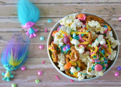 Dance, Hug and Sing your way to making this Troll Party Snack Mix!
