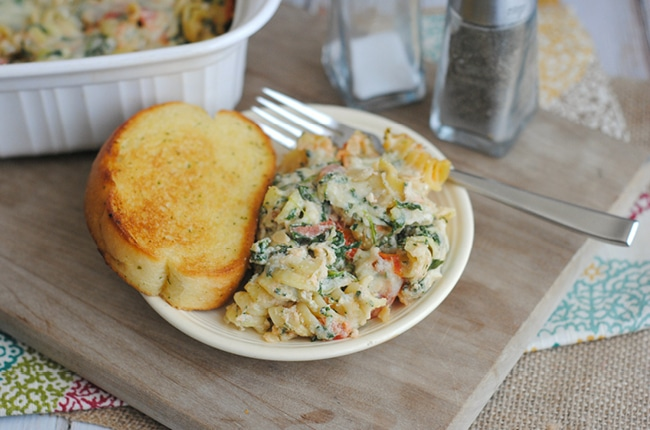 Looking for an easy leftover meal? This meatless baked pasta is perfect for using up leftovers in the fridge!