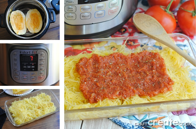 Create a healthy meatless meal using your instant pot and spaghetti squash.