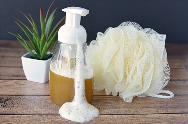 This homemade body wash is gentle yet effective at cleaning your skin.