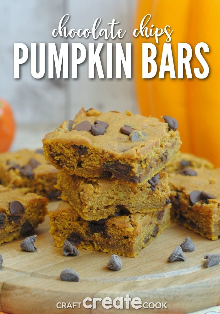 Chocolate chip pumpkin bars are perfect for dessert for any pumpkin lovers!