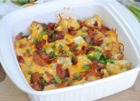 This Keto friendly low carb loaded cauliflower casserole is sure to be a hit!