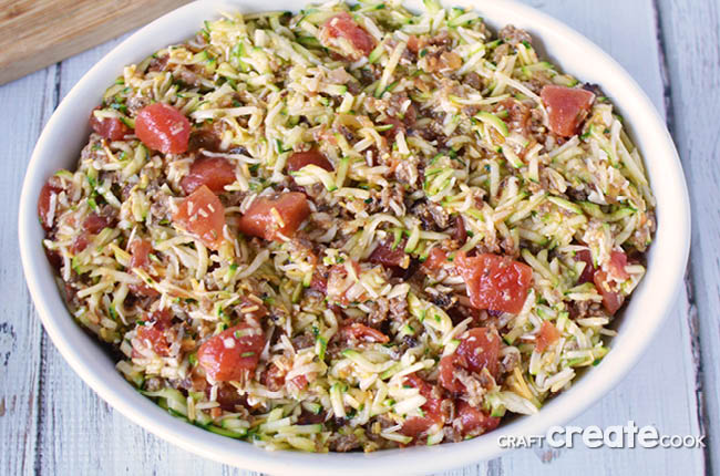 This zucchini pasta casserole recipe is full of flavor and easy to put together!