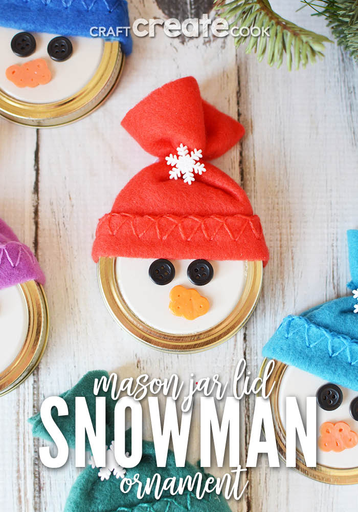 This easy to make Mason Jar Lid Snowman Ornament is so cute you'll want to make at least a dozen!