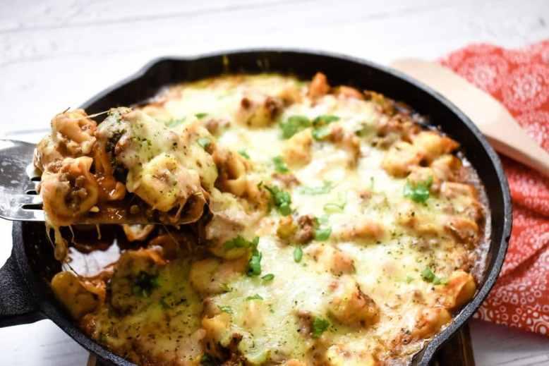 Cheesy Baked Tortellini Skillet Casserole