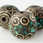 Handmade Tibetan Bead - Round Silver with Turquoise