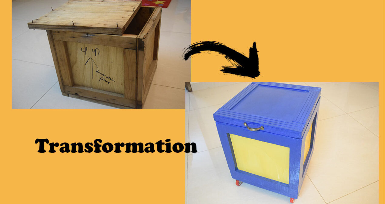 Transformation of an old wooden box to a storage box