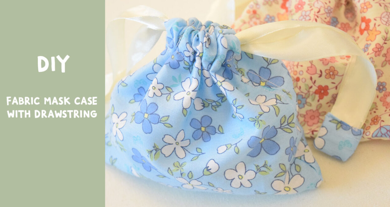DIY Portable Fabric Face Mask Case/ Pouch with Drawstring