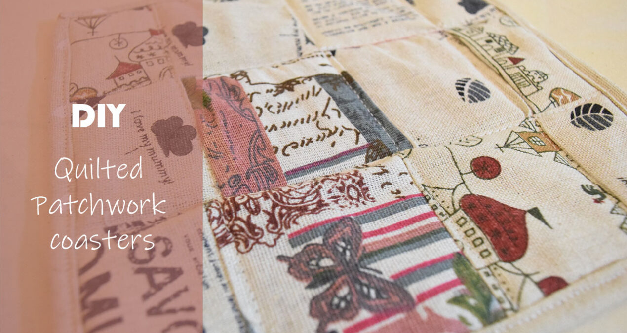 DIY Fabric Patchwork Quilted Coasters/ Table mats with Hard lining.