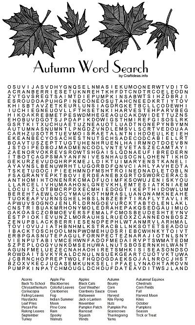 Free Fall Printable Autumn Word Search Puzzle For All Ages