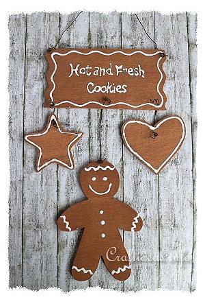 Christmas Wood Craft Fresh Cookies Gingerbread Man Sign