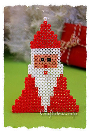 Christmas Craft For Kids Melting Beads Santa Claus Ornament
