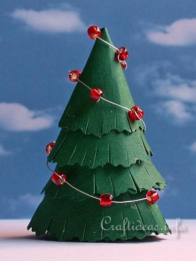 Paper Craft for Christmas - Paper Christmas Tree With Bead Garland