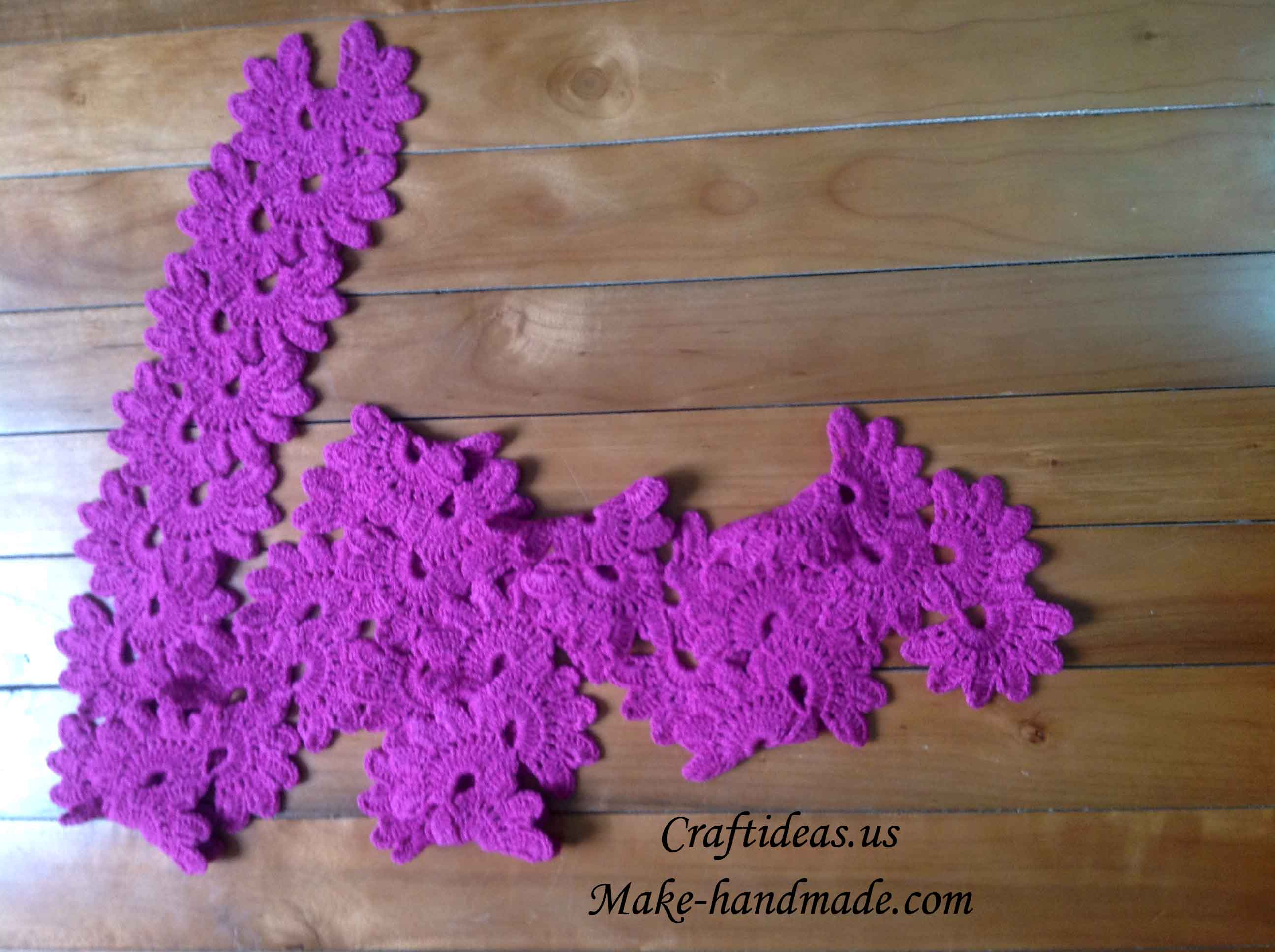 Crochet Flower For A Strip And Scarf Craft Ideas