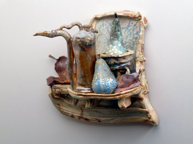 John Glick, Wall Mantle with Ewer Vessel and Pear, 1994