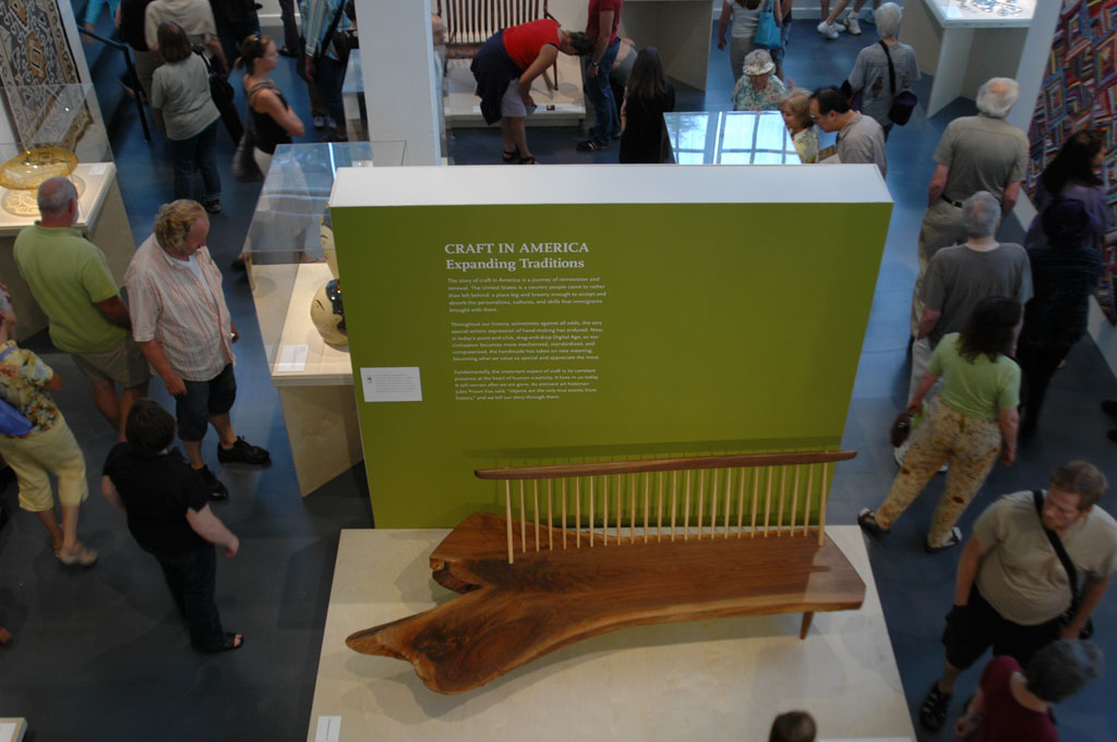 George Nakashima Woodworker, S.A., Conoid Bench and Back, 2007 at the Museum of Contemporary Craft