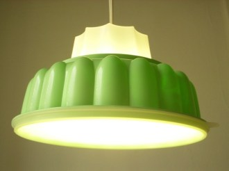 Light fixture made from vintage Tupperware by Boot N'Gus Photo originally found on http://inhabitat.com/
