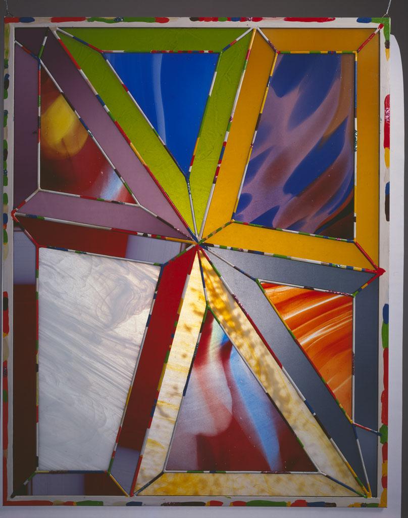 Hexaplex, 1978-79. Handblown and rolled glass, lead, zinc, paint, glitter, 36.5 x 28.5, Will Van Overbeek photograph