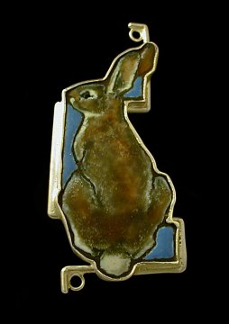 Rachel Gehlhar, Wild Rabbit Pin, 2006. Enamel and sterling silver