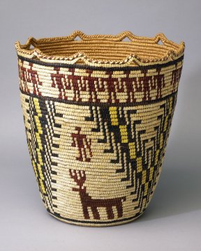 Nettie Jackson, (Klikitat) Coiled Cedar Root Basket, 1984. Doug Hill photograph