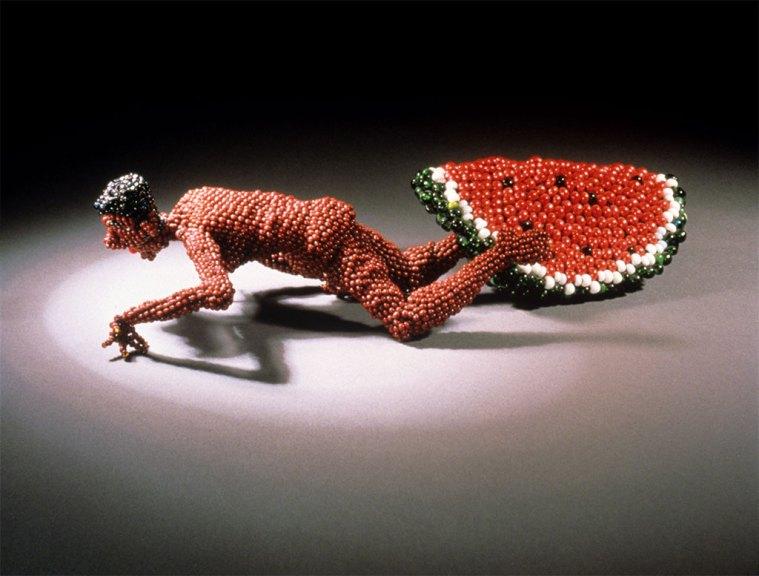 Joyce J. Scott, Man Eating Watermelon¸ 1986. Kanji Takeno photograph