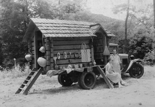 """Lucy Morgan and Howard """"Toni"""" Ford with Travelog, which took Penland products to the 1933 Chicago World's Fair."""