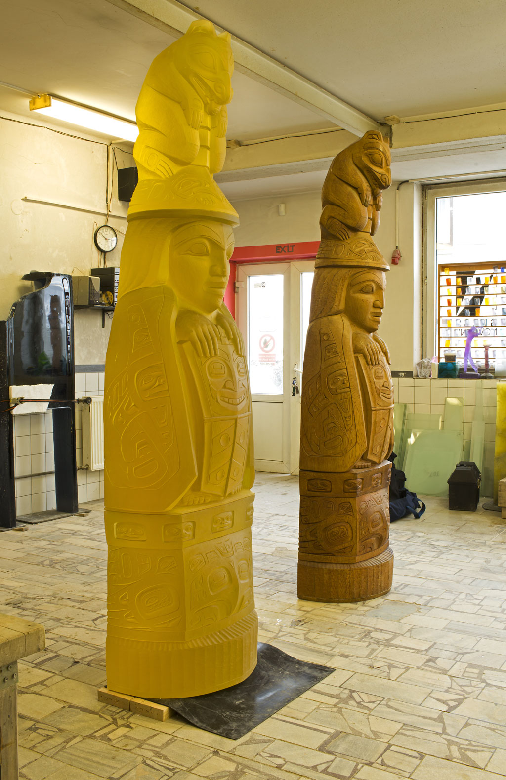 Family Story Totem by Preston Singletary and carved cedar log totem by David Svenson, Nature, Craft in America