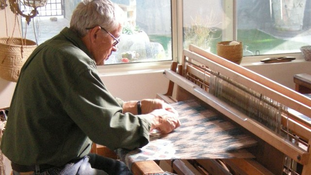 Jim Bassler at the loom