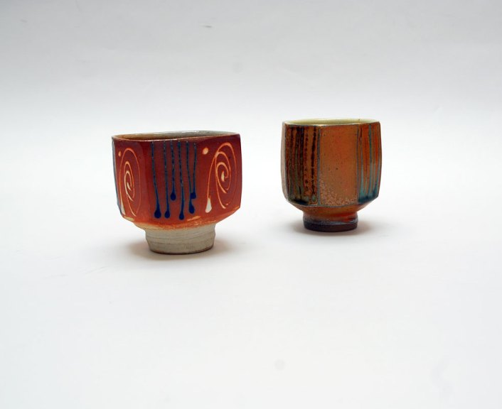 Andy Balmer, Pair of Tea Bowls, 2013. Soda/salt-fired stoneware, Madison Metro photograph