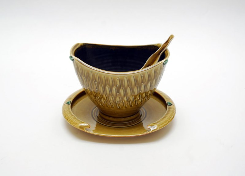 Marlene Jack, Small Serving Bowl with Spoon, 2013. Porcelain, Madison Metro photograph