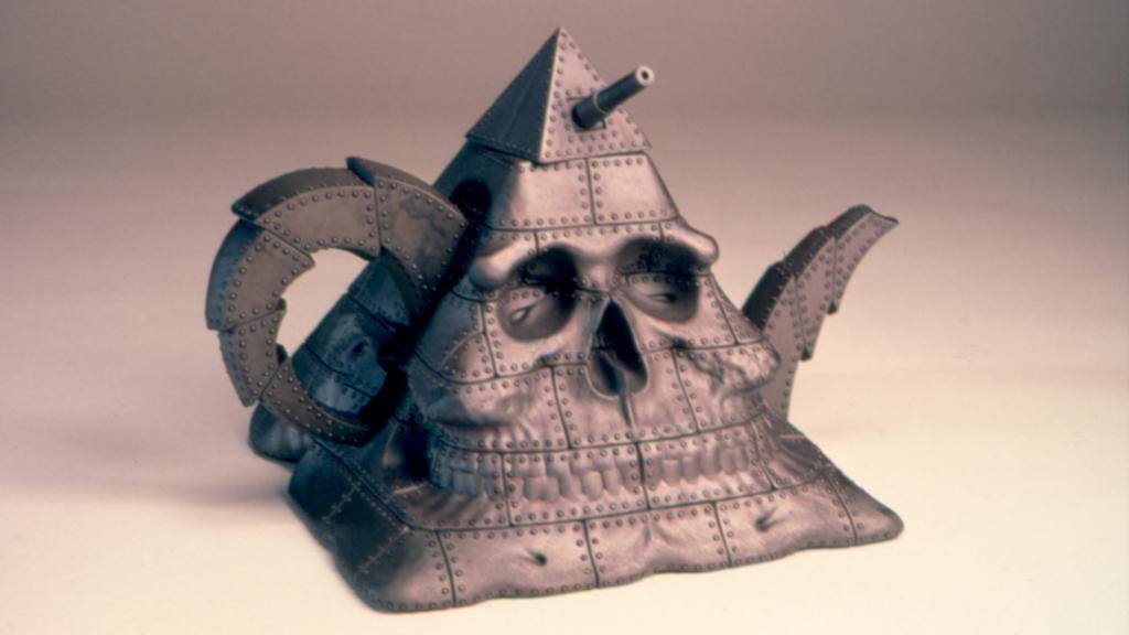 Richard Notkin, Pyramidal Skull Teapot: Military Intelligence I, 1989