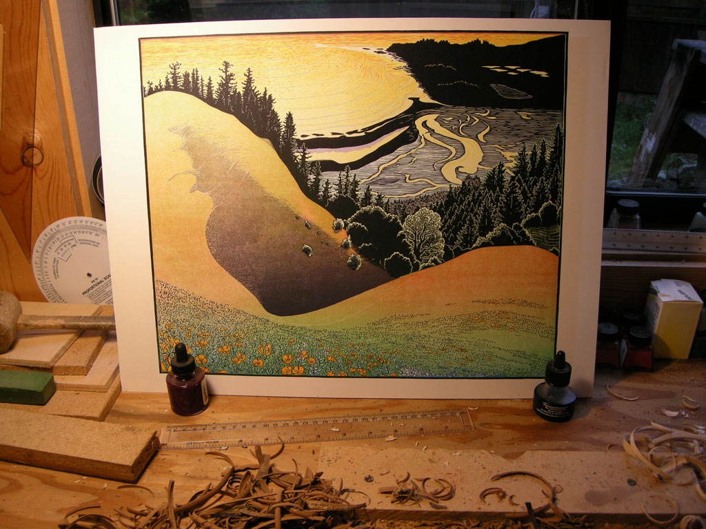 Another block of color for Bolinas Ridge print