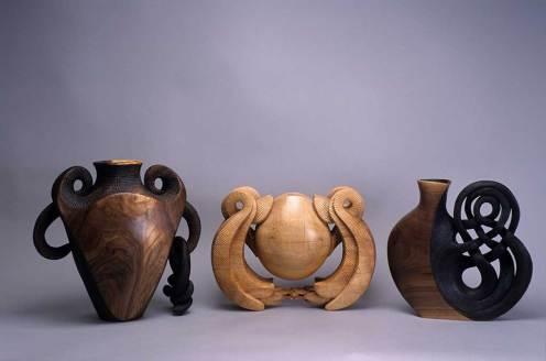 Michelle Holzapfel, Crazy 8 Vase, Guardian Angel Vase, Gordian Knot Vase, 2002 (l-r)