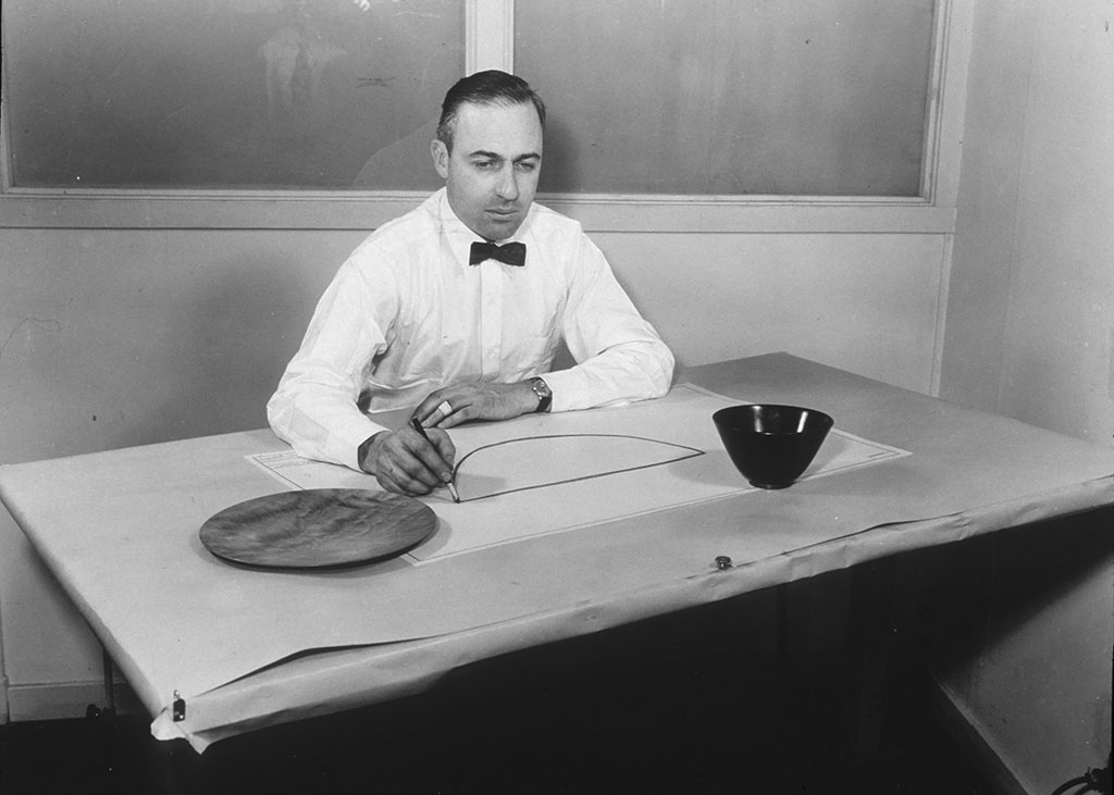 James Prestini working,Courtesy of the Wood Turning Center Resource Library, Wood Turning Center, PA