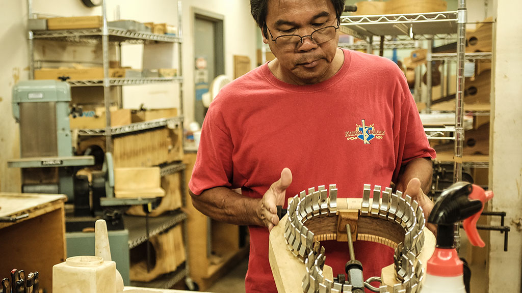 Rostico Fiesta works on the ukulele body. Mark Markley photograph