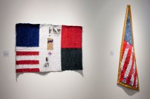 Consuelo Jimenez Underwood, Labor Day Flag (left) and Maize Flag (right)