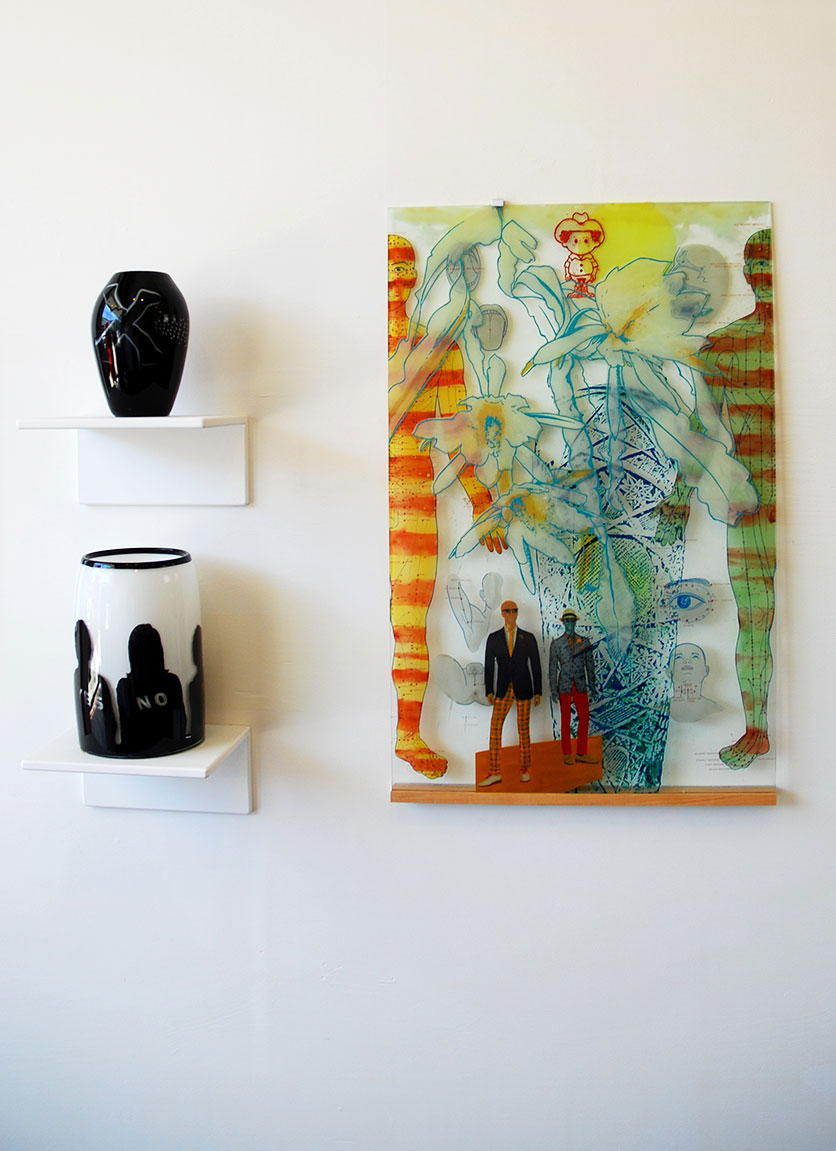 (Top left) Paul Marioni, X Oohaha, 1980. (Bottom left) Paul Marioni, The Something or Other Society, 2005. (Far right) Susan Stinsmuehlen-Amend, Manview II, 2013