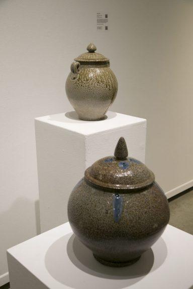 Mark Hewitt, Stoneware Lidded Vessel, 2008; Ceramic lidded jar, 2006