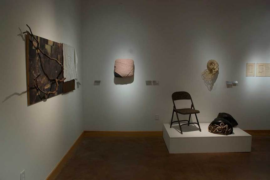 (l-r) Wendy Maruyama, Tule Lake, 2014; Robert Brady, Untitled #1; Carol Shaw-Sutton, The White Sound, 2009