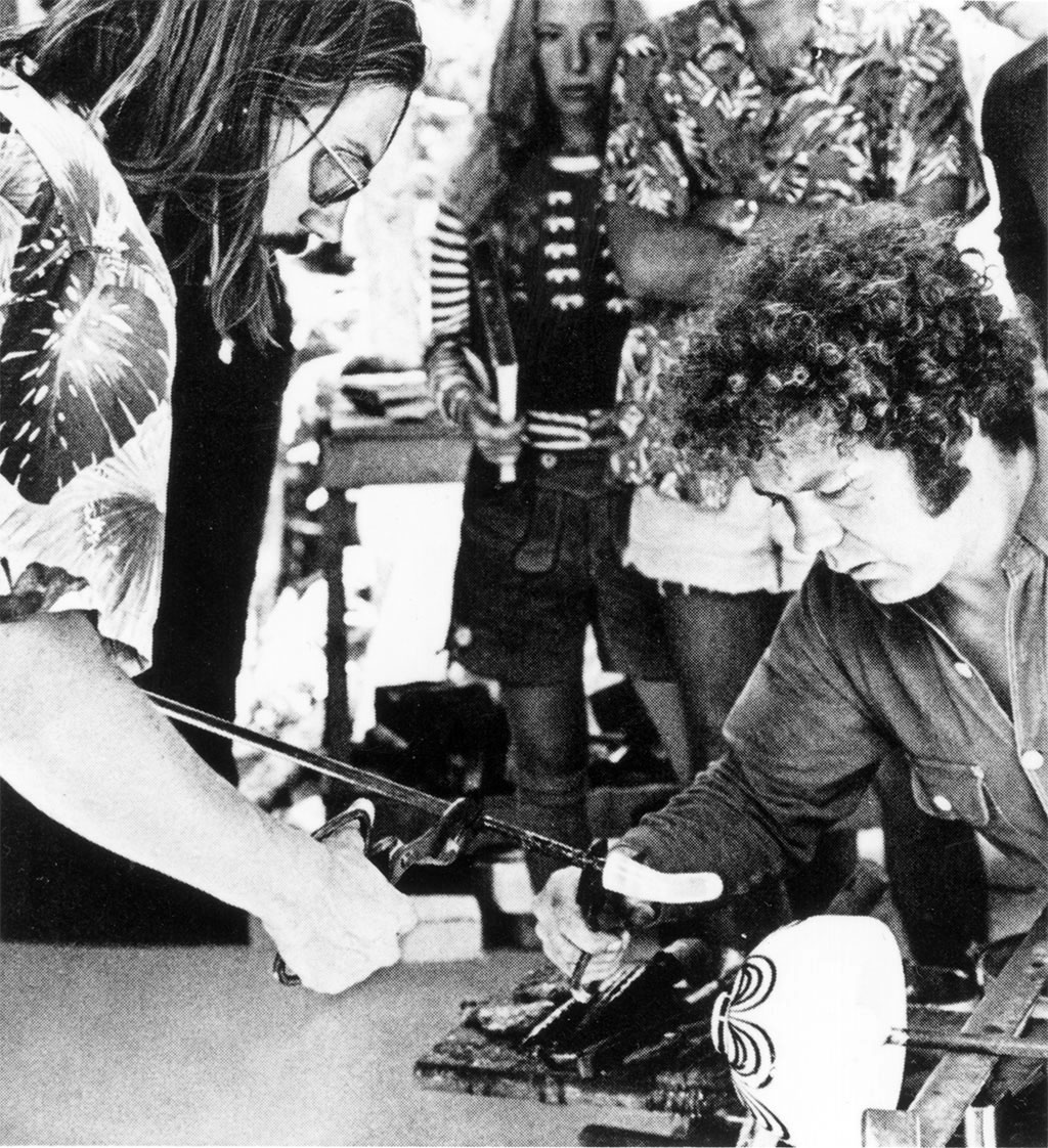 Dale Chihuly and James Carpenter blowing glass at Haystack Mountain School of Crafts in Maine, 1971
