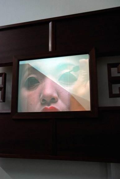Wendy Maruyama, Mirror Mirror, 2007. Pau Ferro, bloodwood, 2-way mirror, video components